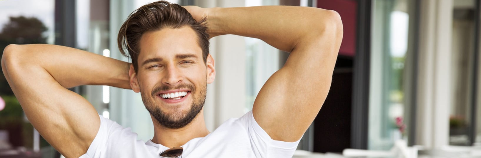 Mens barber cutting and styling